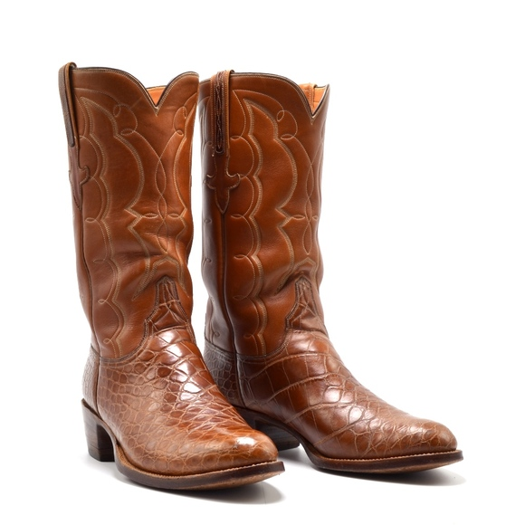 41bb334ccfc LUCCHESE Alligator Exotic Leather Cowboy Boots